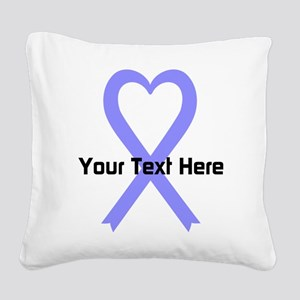 Personalized Periwinkle Ribbo Square Canvas Pillow